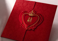 Cheap Top quality Red Heart Style Invitation Card Wedding Invitations come envelopes sealed card 50pcs lot