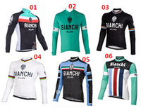 Wholesale Hot Selll Bianchi Men s Winter Thermal fleece Cycling Jersey Mountain Bike Jacket Racing Wear Ciclismo Clothing Kit