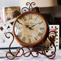 Cheap Unique Europe Fashion Vintage Iron Desktop Clocks With Silent Clock Movement Crafts Home Decor Decoration Home Table Watch Clock