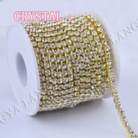 Wholesale Popular Shiny Strass yards High Quality Gold Base SS6 SS38 Densify Claw Crystal Rhinestone Cup Chain For Hair Accessories