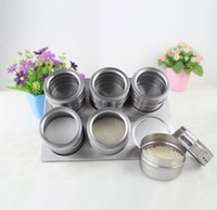 boxes for spices - Hot sale Stainless Steel Magnetic Cruet Condiment Box Set for kitchen Tools CB15