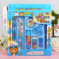 Wholesale 10 sets of stationery pencil ball pen pencil sharpener scissors pencil cap glue erasers rulers children s creative stationery set