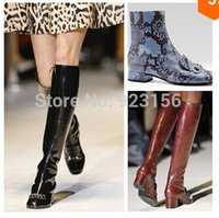 beige wedge boots - New designer Python snake animal print Rough heel tall boots sexy motorcycle high boots runway shoes