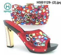 hotel slippers - New sexy lady high heel shoes with matching cluth or bag hot sale and with drill HSB1129