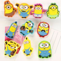Wholesale Clothing For School - 10 models Cute Despicable ME Minions Brooch soft PVC child Cartoon badge Safety pins for kids clothes school bags Christmas gift 200049
