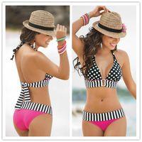 bikini bottoms - 2015 Summer Bathing Suit Sexy stripe Fringe Dotted triangl Bikini Top Bottom Swimsuit for Women Swimwear