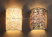 Wholesale cm Height Handmade Rattan Wall Lamp White Brown Color Mental Wall Sconce Light E14 Light Modern Nordic Style