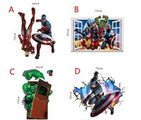 Wholesale 4 Style The Avengers Super Heroes wallpaper Kids cartoon Hulk Captain America Iron Man Thor Wall stickers