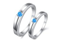 athens blue - NEW Athens blue diamond lovers ring plating platinum wedding rings charm fashion jewellery bride jewelry cheap jewellery pairs TY