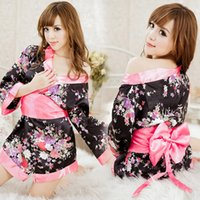 babydoll coats - Sexy romantic printed Japanese kimono role playing COS uniform suit women s sexy temptation short coat for brides