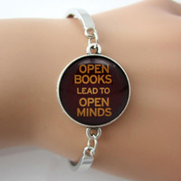 art minds - Bracelet Phrase OPEN BOOKS LEAD TO OPEN MINDS Spirits inspire Jewelry Glass Gem Art Bangle For Readers Vintage Summer Style