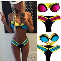 Wholesale 2015 HOT Sexy Women color Bandage Triangle neoprene beach Bikini Push up Padded Bar Swimsuit padded zipper bras Swimwear BBB2507 set