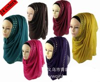 beautiful hijabs - MLJ010 New cotton scarf with rivets beautiful hijab shawl muslim scarves hijabs Pick Colors