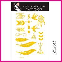 Wholesale Fashion Women Metallic Temporary Tattoos Silver hot Stamping Waterproof Flash Tattoos Stickers