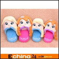 Wholesale M L Pairs Frozen Anna Elsa Minion Plush Stuffed Slippers Cuddly Fluffy Collectible Frozen D Slipper