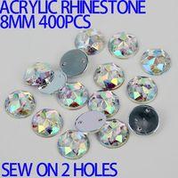 al por mayor piedra de costura de acrílico-AAA 8mm 400PCS AB Color Superior Taiwán Acrylic Flat Back Piernas Ronda Círculo Forma Acrílico Rhinestone Coser En 2 Agujeros