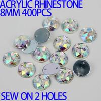 achat en gros de acrylique pierre à coudre-AAA 8mm 400PCS AB Couleur Supérieur Taiwan Acrylique Flat Back Pierres Round Circle Forme acrylique strass Coudre sur 2 trous