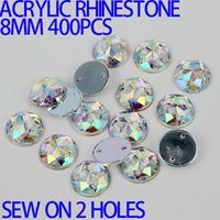 achat en gros de d pierres-AAA 8mm 400PCS AB Couleur Superior Taiwan Acrylique Flat Back Stones Round Circle Shape Acrylic Rhinestone Sew On 2 Holes