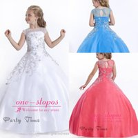 Wholesale 2015 Cute Girls Pageant Dresses Bateau Neck Cap Sleeve Sheer Coral Rhinestone Crystal Beads Ball Gown Zipper Back Formal Flower Girls Gowns
