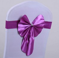 Wholesale Chair Sash Stretch Wedding Decorations Supplies Free Tied Bowknot Wedding Party Favors White Chair Spandex Covers Wedding