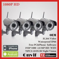 Cheap 4PCS Wireless WIFI Network IP Camera 1080P HD SONY Sensor H264 Onvif Indoor Outdoor Waterproof Bullet Security CCTV Camera 2MP
