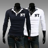 Wholesale 2016 New Arrival Casual Fashion embroidery Letter Logo Slim Fit long sleeved Turn down collar Polo shirt GC401