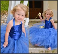 bandages for kids - Royal Blue Tulle Flower Girls Dresses Halter Bandage Floor Length Wedding Party For Kids Wear Gowns Pageant Dress Vestido Communion Gown shj