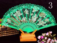 Wholesale Brand new Spanish style rose flower design plastic frame lace silk hand fan chinese craft folding fan