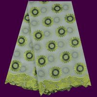 swiss voile lace - Fashionable TC43 yards African white embroidery cotton lace fabric with lemon green flower Swiss voile lace for dress