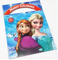 Wholesale MOQ brand new Children s educational picture Drawing Paper Cartoon mobile coloring book elsa princess anna With stickers