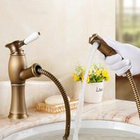 antique copper pulls - Pull Out Basin Faucet Antique Brass Copper Basin Mixer Tap Kitchen Faucet Deck Mounted PU03