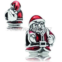 Wholesale Cute Santa Claus Sterling Silver St Nick Charms Screw Bead Genuine Jewelry For Snake pandora Bracelet Chain Necklace Christmas gift
