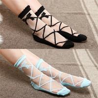 colorful socks - Hot Women New baroque style socks Ultra Crystal Socks Colorful Transparent Lace Short Socks Ladies bow socks