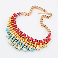accessories coupons - Neon Color Waved Necklaces amp Pendants vintage chain collar statement necklace jewelry accessories new CX083 coupon