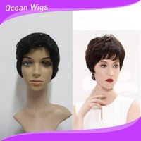 Brazilian Hair short hair wigs - Indian hair Short wig A virgin human hair full wig B color machine tied wigs change style by yourself