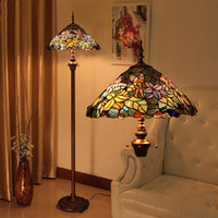 antique stand lamp - Tiffany Stained Glass Lily Stands Light European Style Antique Creative Fashion Art Floor Lamp Living Room Bar Stands Light Fitting