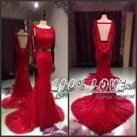 Wholesale Dresses Party Evening Dress Party Evening Elegant With Shawl Red Sequined Fabric Backless Belts Evening Dress