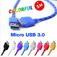 Wholesale 1M ft Braided Fabric Nylon Woven Micro USB cable Data Sync Chargers Cable Wire Cords car charging USB cables For Note Note3 N9006