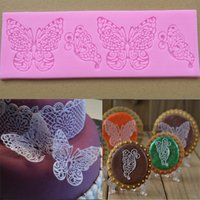 Wholesale Creative Small Butterfly Lace Fondant Mold Happy Birthday Decoration DIY Silicone Lace Mould Cake Baking Tools FM186