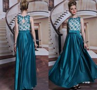 Wholesale New Coming Popular Crew Evening Dresses Satin Applique Lace Beaded Sash Turquoise Charming Celebrity Formal Gowns Floor Length Good Sale ZQ