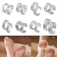 unique jewelry - Women Lady Unique Adjustable Opening Foot Rings Fashion Sliver Plated Carved Toe Rings Foot Beach Jewelry YBLH