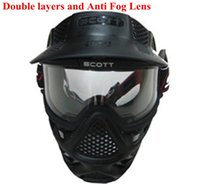 Wholesale High Quality Safty Airsoft Paintball Tactical Full Face Mask Anti Fog Double Lens Goggle Black color