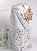 Wholesale Different Colors Summer Sequins Tulle Muslim Hijabs Appliques Lace Women Headscraf Turban