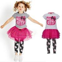 Wholesale 2015 fashion children clothing set cotton HELLO KITTY girls clothing sets kids clothes sets xgp
