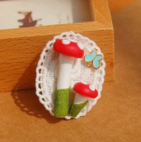 costume brooch jewelry - 6pcs Kawaii Red Mushroom Butterfly Brooch Pins for Costume White Lace Fimo Jewelry Party Children s Jewelry nz04