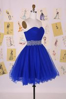 Wholesale Real Sample Royal Blue Tulle Short Ball Gown Prom Dresses Beading Sweetheart Evening Party Dress Bridesmaid Gown