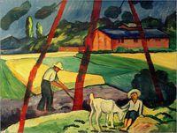 bauer paintings - August Macke decoration oil painting Landschaft mit Bauer Junge und Ziege famous artist reproduction