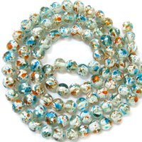Wholesale BSI Doodle On Teal Inches Strand Of Artistic Painted Lamp work Glass Round Beads mm Jewelry Making