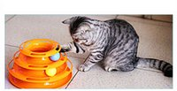 ball track toys - Three Layers Intelligence Crazy Amusement Petstages Tower of Tracks Pet Cats Toys balls Rotary tower toys newest