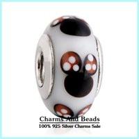 Cheap 2pcs lot Authentic 925 Sterling Silver Mickey Murano Glass Beads Fit Pandora Bracelets European Glass Beads For Women DIY Jewelry Making